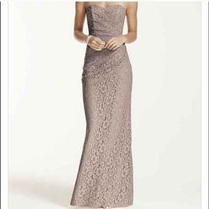 David's Bridal Biscotti Lace Strapless Dress